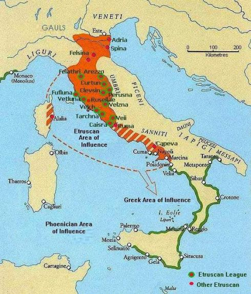 A Map of Etruscan Culture through time