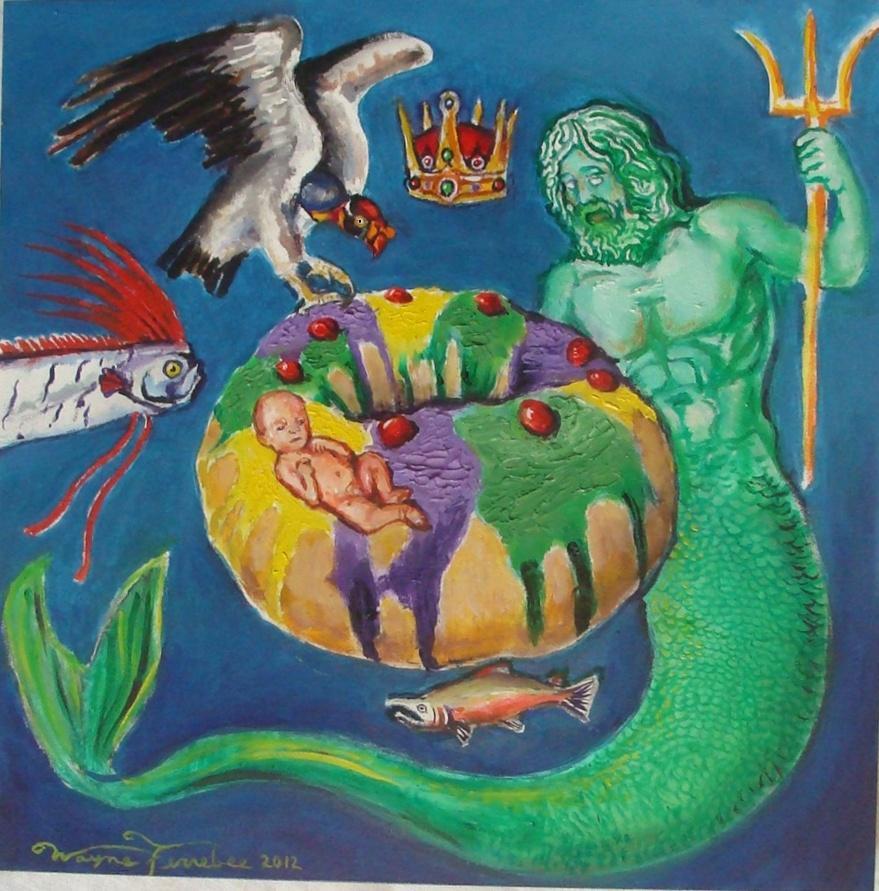 King Cake (Wayne Ferrebee, 2012, oil on canvas)