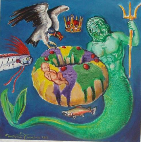 King Cake (Wayne Ferrebee, 2012, oil on canvas)