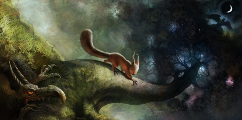 Ratatoskr on Yggdrasil (source unknown)