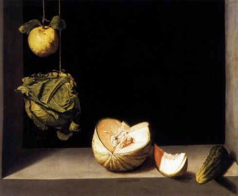 Still-life with Quince, Cabbage, Melon and Cucumber (Juan Sánchez Cotán, ca. 1600, oil on canvas)