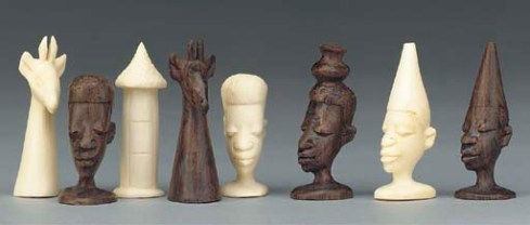 Ebony and Ivory Chess Set--East Africa (early 2oth century)