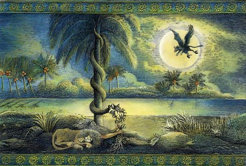 The Serpent Steals the Herb of Immortality from Gilgamesh (illustration by Ludmila Zeman)