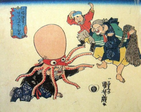 Fukurokuju Disguised as Octopus (Kuniyoshi Utagawa,  ca. early 19th century Woodblock Print)