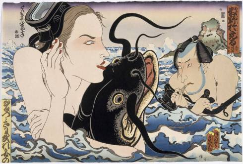 Catfish Envy (Masami Teraoka, 1993, woodblock & etching with hand-tint)