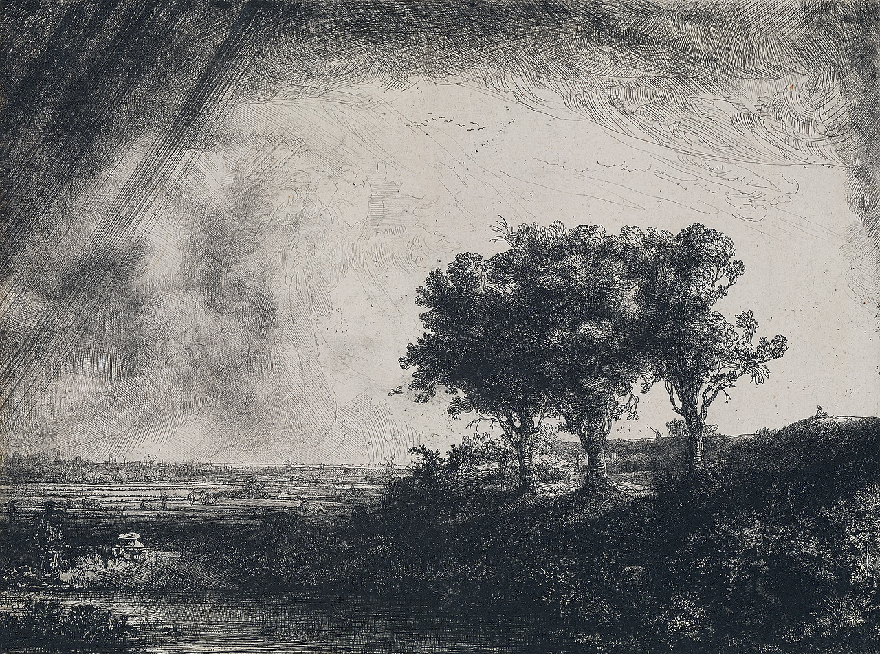 The Three Trees (Rembrandt Harmenszoon van Rijn, 1643, intaglio print)