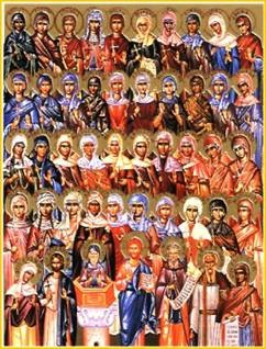 The principal figures o Christianity with 40 holy virgins