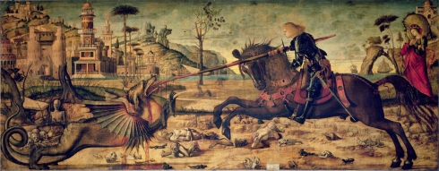 Saint George and the Dragon (Vittore Carpaccio, 1507 AD, tempera on panel)