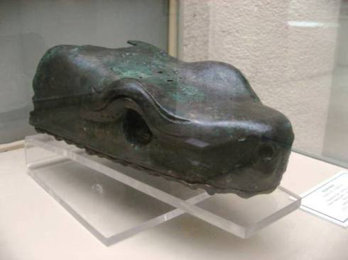 The last known serpent head missing the jaw (Greek, ca. 378 BC, Bronze)