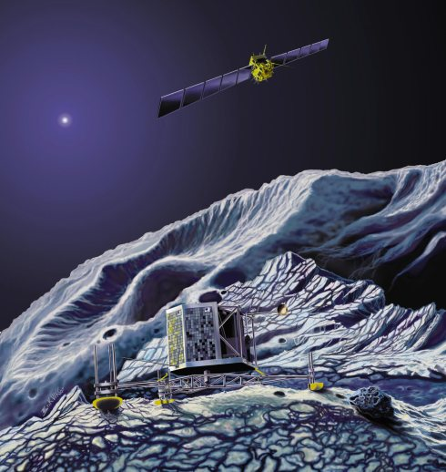 Artist's impression of the Philae landing craft, anchored by harpoons and drills to the comet's surface