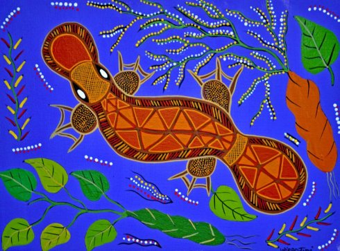 Hey! That's not a mascot--it's original Aboriginal art!