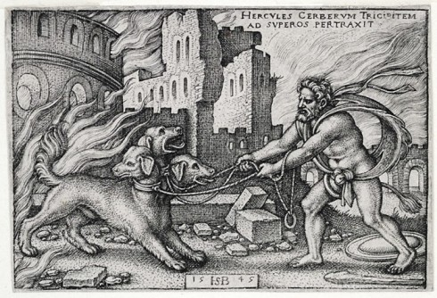 Hercules and Cerberus (Hans Sebald Beham, 1545, engraving)