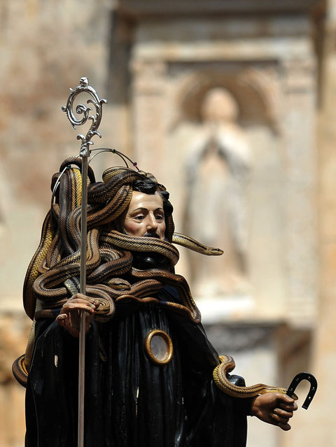 San Domenico stands in for Angitia at the modern festival (although he doesn't look super happy about it)