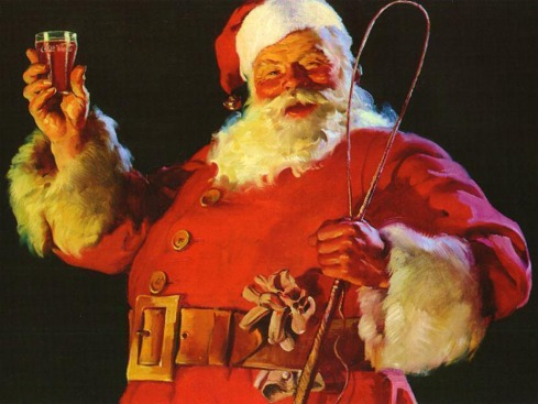 Santa, with horsewhip toasting a multi-billion dollar corporation...