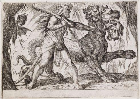 Hercules and Cerberus (Antonio Tempesta, 1608, Print)