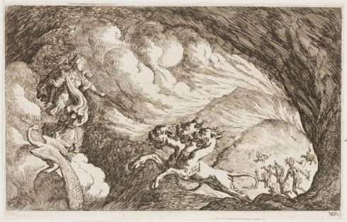Juno Defies Cerberus and Enters Hades (Johann Wilhelm Baur German, c. 1639, etching)