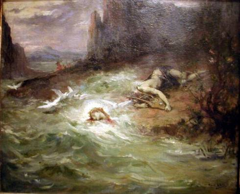 Death of Orpheus (Henri Levy, 1870, oil on canvas)