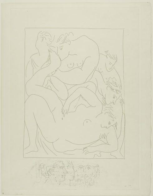Eurydice Stung by a Serpent  from Les Métamorphoses (Pablo Picasso, 1930, print)