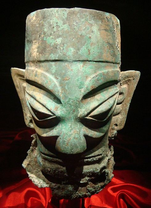 Large bronze head (Sanxingdui, Circa 1300-1200 BC, cast bronze)