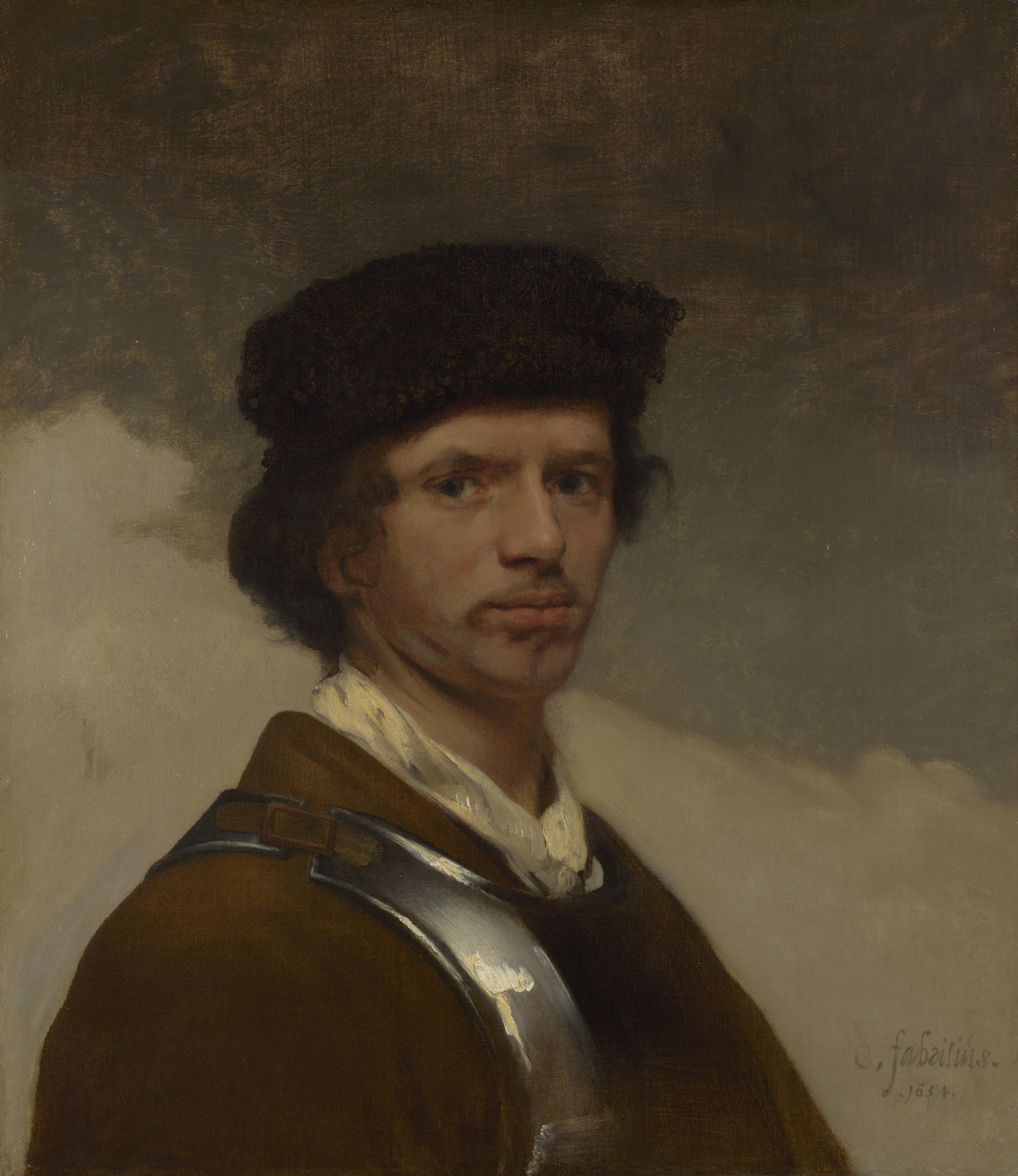 A Young Man in a Fur Cap and a Cuirass (Carel Fabritius, 1654, oil on canvas)