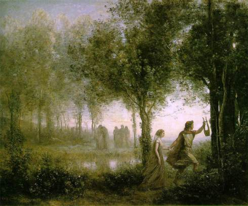 Orpheus Leading Eurydice from the Underworld (Jean -Baptise-Camille Corot, 1861, oil on canvas)