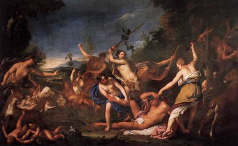 Orpheus and the Bacchantes (Gregorio Lazzarini, circa 1710, oil on canvas)