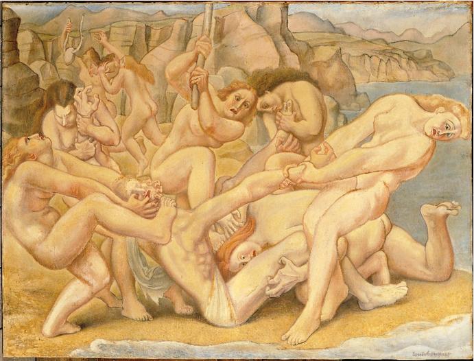 La Mort d'Orphee (Louis Bouquet, ca. 1925-1939, oil on canvas)