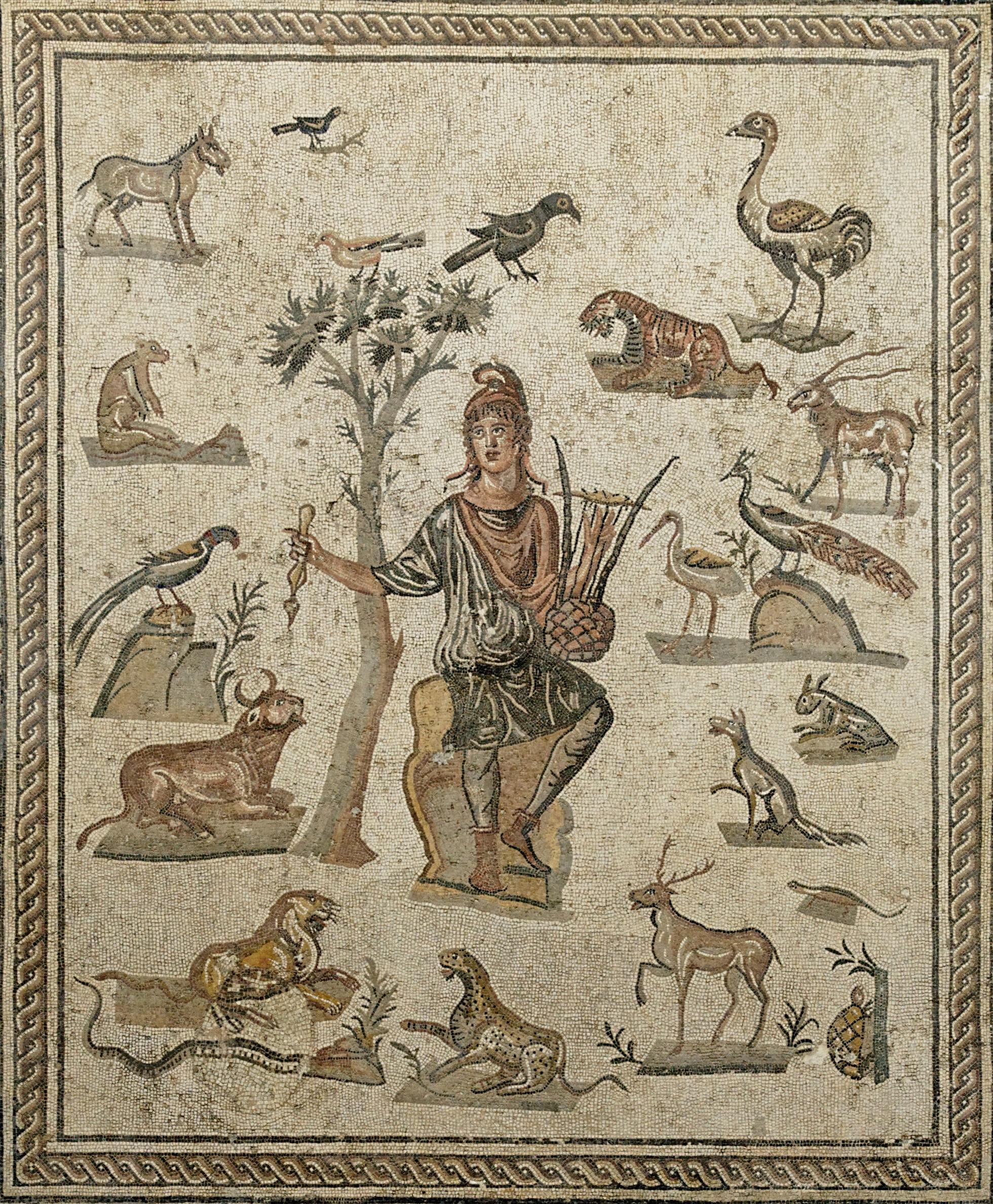 Orpheus with animals. (Roman mosaic ca. 200-250 AD)