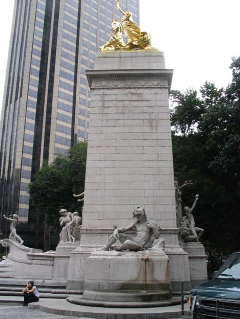The left side of the Monument: an allegorical figure of the Atlantic Ocean