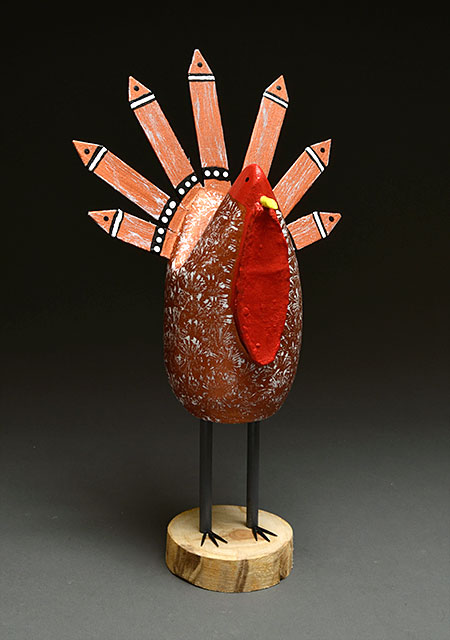 Folk Art Turkey Sculpture by Edith John (Navajo)