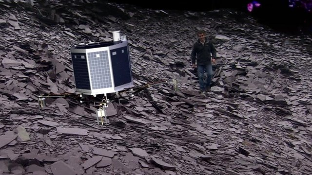 An artist's mock-up of how the probe might look on the comet's surface (the underdressed astrophysicist is added for scale and is presumably not there)