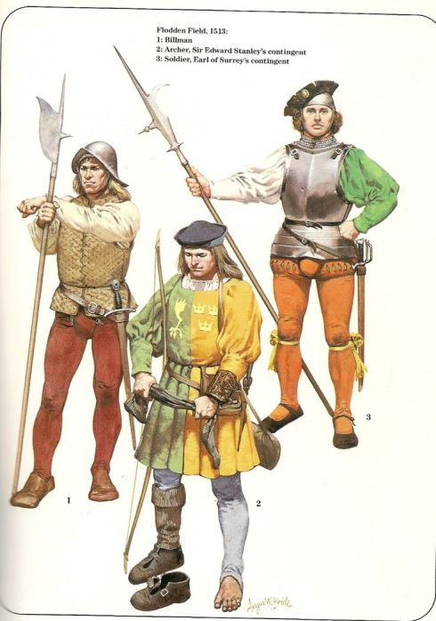 Early Tudor soldiers by Angus McBride; Two Billmen and an archer