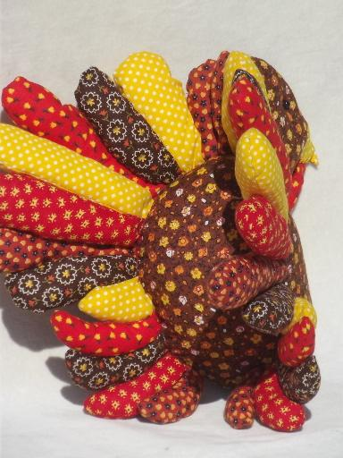 Thanksgiving Turkey Stuffed Soft Sculpture In Vintage Calico Prints Picture from Laurel Leaf Farm