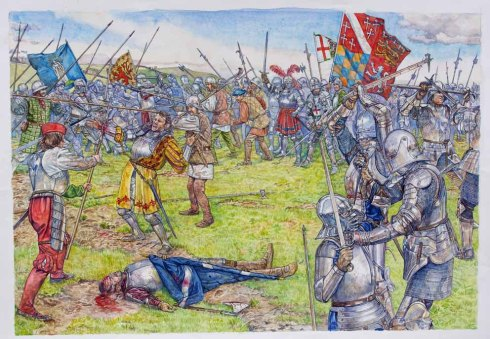 Battle of Flodden--The Death of James IV (Stephen G. Walsh, watercolor)