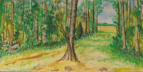 The Edge of the Woods (Wayne Ferrebee, 2012, watercolor)