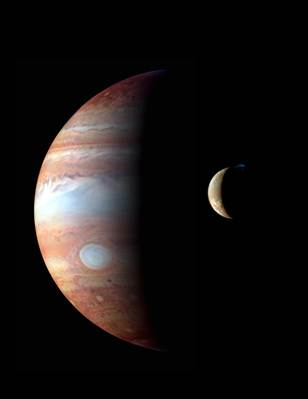 Composite image of Jupiter and Io as photographed from New Horizons (NASA)