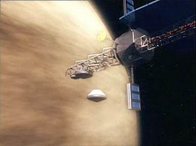 This still from a NASA animation of a concept Venus mission shows a probe, one of many, beginning its descent into the Venus atmosphere.