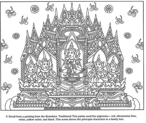 "From Dover's ""Thai Decorative Designs"" Coloring Book amazing"