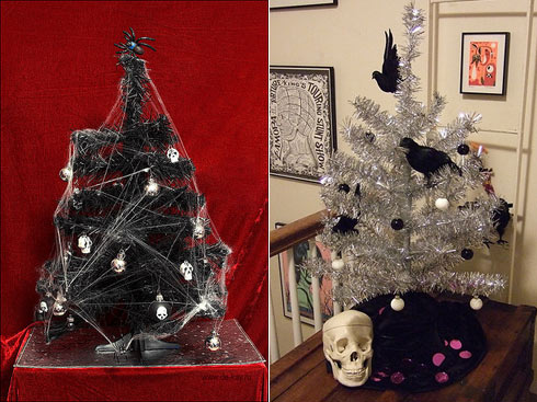 here are some gothic treessome are goth in the modern punk rock sense while others are pagan macabre ironically twisted or just winsomely slender - Gothic Christmas Decorations