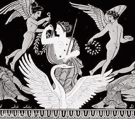 Aphrodite rides on the back of the swan, accompanied by a pair of winged Erotes (love-gods) holding myrtle wreaths. (drawing after fifth century Greek vase)