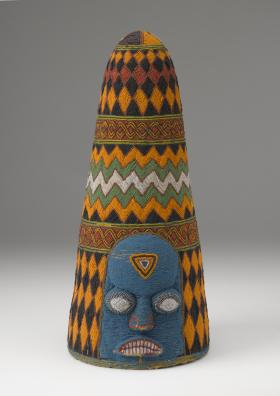 """Beaded Crown """"Ade"""" (ca. 20th Century; Glass beads, cloth, thread, and basketry)"""