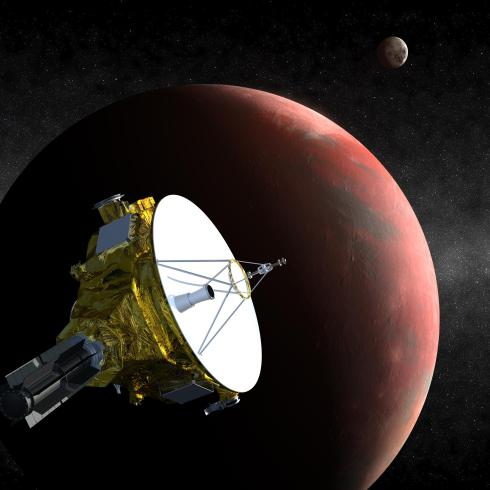 Artist's conception of the New Horizons spacecraft flying past Pluto and Charon