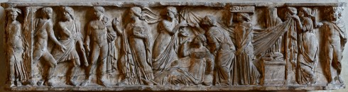 Sarcophagus with scenes of Protesilaus and Laodamia (Roman, second century AD, marble)