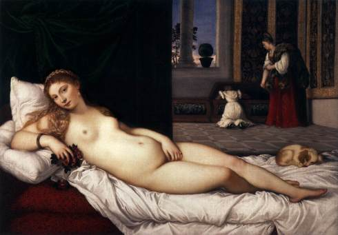Venus D'Urbino (Titian, 1538, Oil on Canvas) Note the pot of topiary myrtle in the pot by the column!