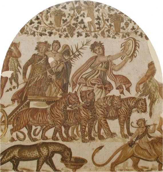 Bacchus and Tiger Quadriga mosaic in Tunisia(Roman Mosaic, circa 3rd century, tile)