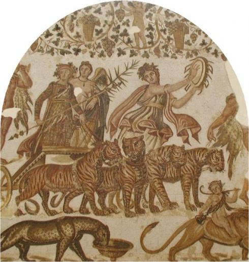 Bacchus and Tiger Quadriga mosaic in Tunisia(Roman Mosaic, circa 3rd century, tile)