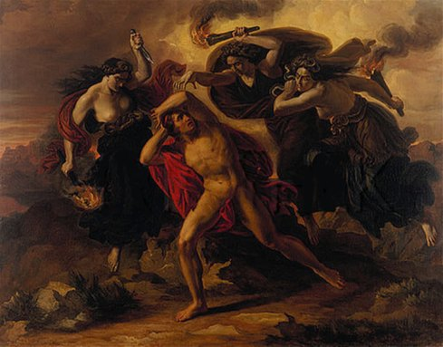 Orestes chased by the Erinyes (Carl Rahl, ca. 1852, oil on canvas)