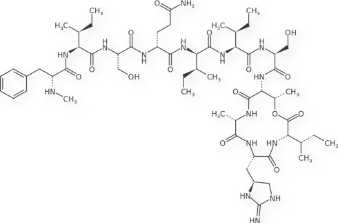 "Chemical Structure of Teixobactin molecule (via ""Nature"") it is incredible that this was dicovered this month and we already have this!"