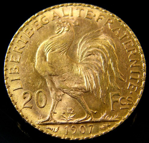 The Gallic Rooster minted in gold as a 20 Franc piece