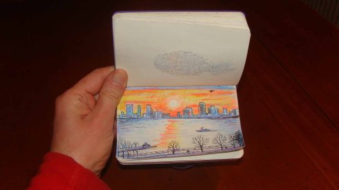 Sunset over Jersey City (Wayne Ferrebee, 2015, color pencil sketch)